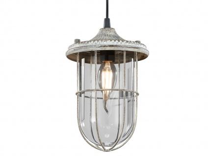 LED Hängelampe grau antik Lampenschirm Glas 14, 5cm, Retro Pendelleuchte Vintage - Vorschau 3