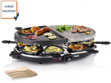 Raclette mit Steingrillplatte 8 Personen 1200 Watt antihaftbeschichtet abnehmbar