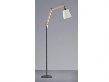 Skandi LED Stehlampe mit Holz Stoffschirm skandinavisch Landhausstil Wohnzimmer