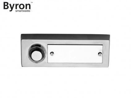 Klassischer BYRON Klingeltaster Stahl gebürstet, Klingelknopf mit Namensschild