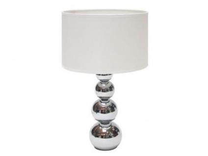 Tischleuchte mit Touchfunktion, Chrom, Schirm weiß, Tischlampe Touchlampe