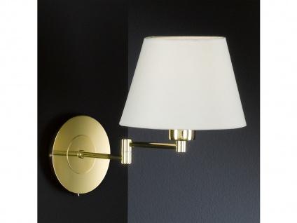 Wandleuchte Bettlampe Messing mit Schalter & Lampenschirm Stoff rund verstellbar