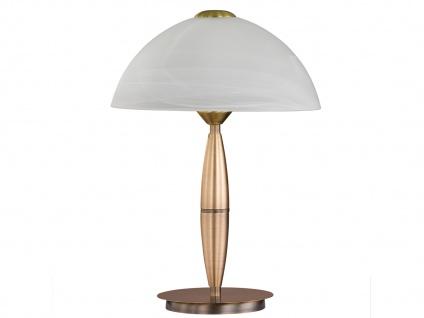 Klassische Tischleuchte Altmessing Glasschirm H. 36cm LED Nachttischlampe Diele - Vorschau 2