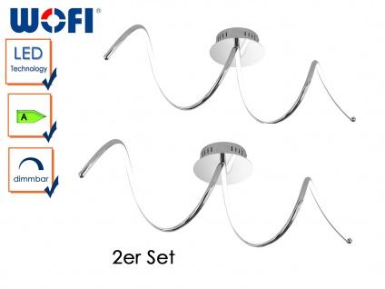2er Set LED Deckenleuchte UNIQUE, Chrom, L 72cm, LED Deckenlampen Deckenleuchte