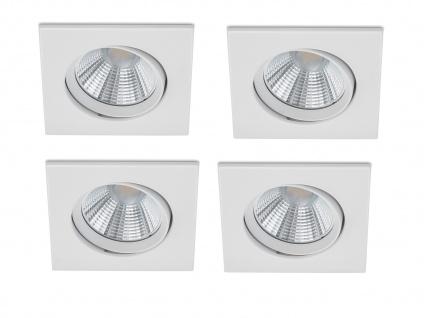 4er Set Eckiger LED Einbaustrahler Decke schwenkbar dimmbar Weiß matt 5, 5 Watt