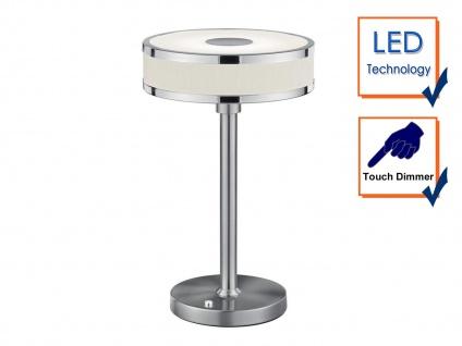 LED Tischleuchte dimmbar, Metall in Nickel matt Schirm aus Stoff & Acryl in weiß - Vorschau 3