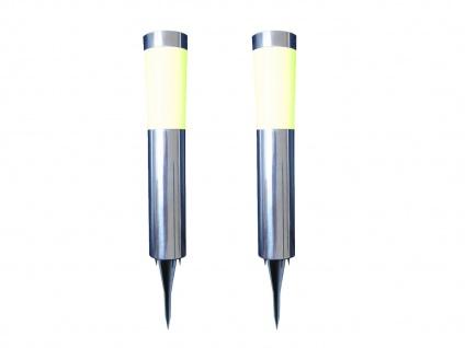 2er SET LED Erdspieß Solarleuchten für den Garten - Edelstahl Wegebeleuchtung