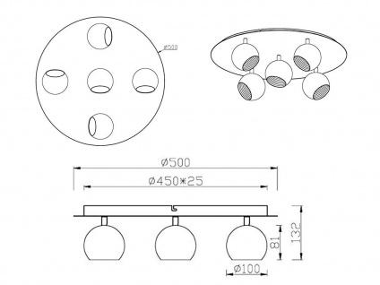 Runder LED Strahler Ø 50cm mit 5 dreh+ schwenkbaren Spots für optimales Licht - Vorschau 5