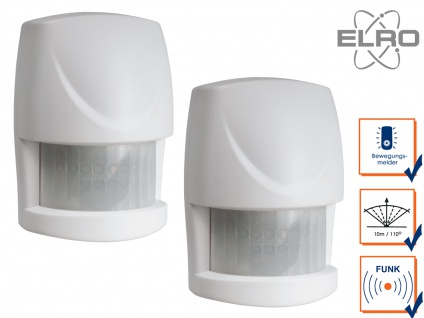 2x Bewegungsmelder 10m / 110° Smart Home ELRO AS8000 Alarmsystem App gesteuert