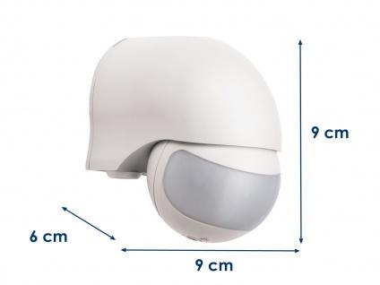 Aufputz Bewegungsmelder, weiß 12m/200°, Lux und Zeitintervall einstellbar, IP44 - Vorschau 3