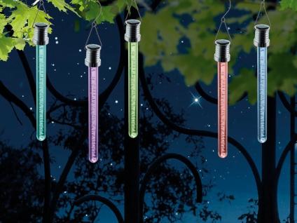 RGB LED Solarlichtstäbchen für draußen - 2er SET Hängeleuchten, Luftblasen-Optik
