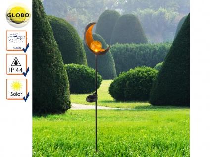 LED Solarleuchte Mond bronzefarben Glaskugel, Erdspießleuchte Gartenleuchte