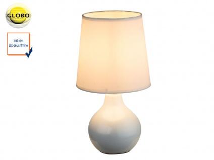 Tischleuchte weiß mit LED, Keramik Lampenschirm Seide, Tischlampe Nachttisch