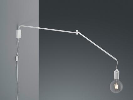 Große LED Schwenkarmleuchte Wandlampe mit Kabel langem Teleskoparm und Stecker