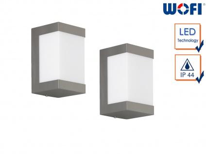 2x LED Außenwandleuchte Edelstahl H.15cm Wandleuchte außen Fassadenbeleuchtung