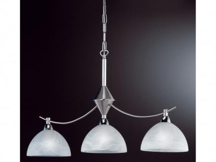 Pendelleuchte, Nickel matt, Chrom, Glas weiß, Honsel-Leuchten, AMSTERDAM