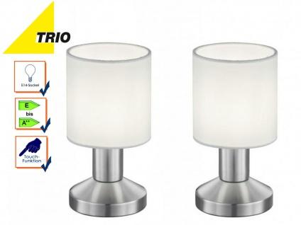 Tischlampen Set mit Lampenschirm Stoff weiß, Tischleuchte Nachttischlampe Touch