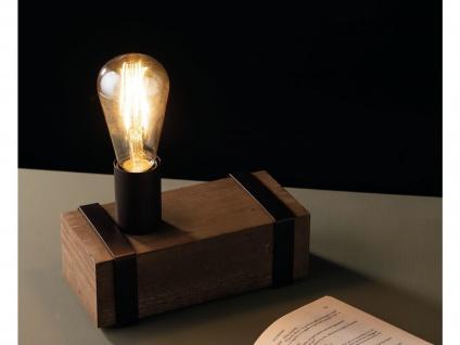 Ausgefallene Industrial Tischleuchte 1 flammig Holzbalken antik mit Vintage LED