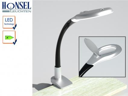 LED-Klemmleuchte MAGIC mit Lupe schwarz/silber Schreibtischlampe Büro Honsel
