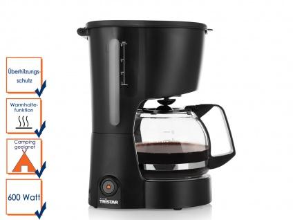 Kaffemaschine mattschwarz 6 Tassen 600 Watt Dauerfilter Camping geeignet Tristar