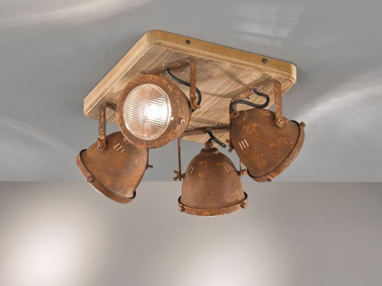 4 flammiger Deckenstrahler Holzbrett & Metall rostfarben, Deckenlampe Industrial