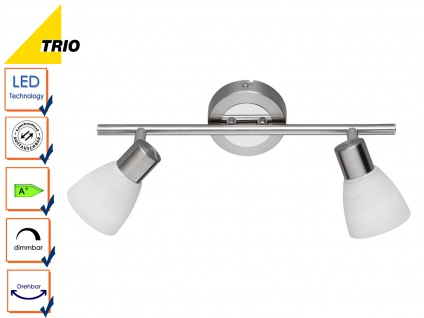 LED Deckenstrahler Spot CARICO Nickel matt Glas weiß Breite 34 cm