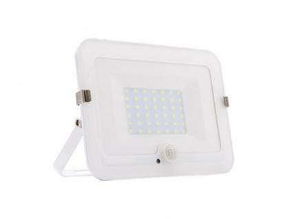 30W LED Strahler weiß, Fluter mit Bewegungsmelder, flaches Design, IP44