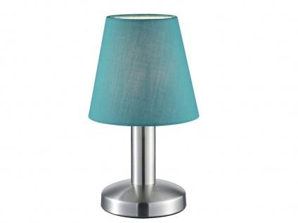 Kleine Tischleuchte Stoffschirm blau mit 4Stufen Dimmer Touchfunktion, Flurlampe
