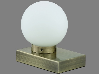TRIO Tischlampe TOUCH-ME, E14, 10 x 15cm, Altmessing, Glas weiß