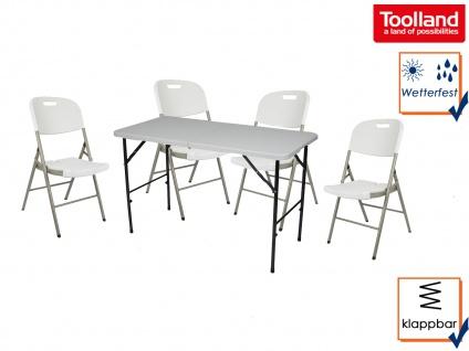 Gartenmöbelset weiß für Camping, klappbarer Gartentisch eckig mit 4 Klappstühlen