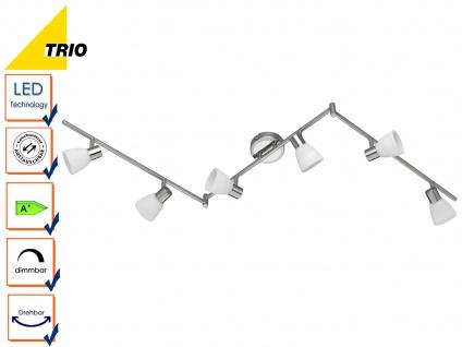 LED Deckenstrahler Spot CARICO Nickel matt Glas weiß Breite 150 cm