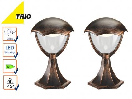 2er Set Trio LED Wegeleuchten Sockelleuchten GRACHT rost antik, Außenleuchten