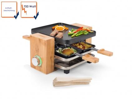 Holz DESIGN Raclette für 2-4 Personen Elektro Tischgrill Raclet Raklett Gerät