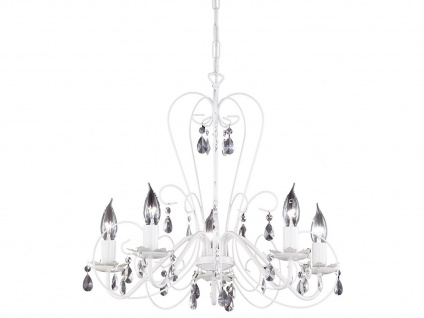 Moderner Kronleuchter in weiß, Glasbehang klar, Honsel-Leuchten, PRISMA