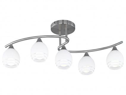 Deckenleuchte, E14, 72x27cm, H. 27cm, Nickel matt, Glas weiß Dekor