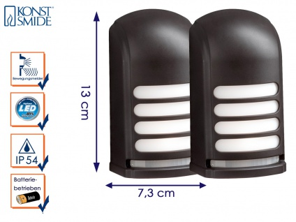 2er-LED Wandaufbauleuchte Nachtlicht PRATO Bewegungsmelder batteriebetr. schwarz