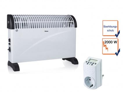 2000W Turbo Elektroheizung Konvektor mit Thermostat & Timer, Campingheizung