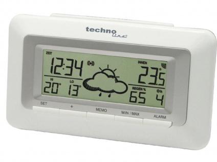 TechnoLine Funk-Wetterstation, LED-Display, Weltzeituhr weiß