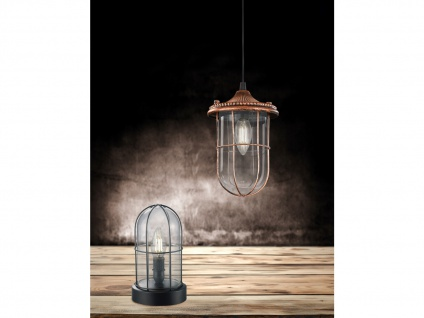 LED Hängelampe schwarz Lampenschirm Glas 14, 5cm, Retro Pendelleuchte Vintage - Vorschau 4