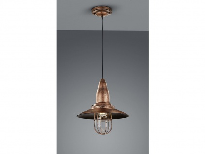 LED Hängelampe Kupfer antik Lampenschirm Glas 32cm, Retro Pendelleuchte Vintage