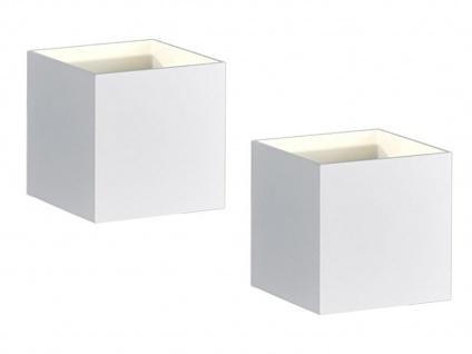 2 x Kubusförmige LED Wandleuchte in weiß matt 10 x 10 x 10cm Wandspot Würfelform