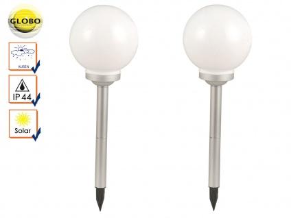 2er Set LED Solarlampen Gartenkugeln Kunststoff 20cm mit Erdspieß, Solarkugeln