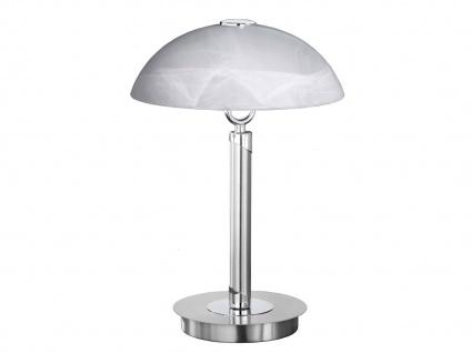 Tischleuchte / Tischlampe, Nickel / Glas weiß, Wofi-Leuchten