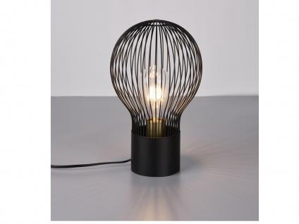 Kleine LED Tischlampe Industrie Design Gitterlampenschirm in schwarz aus Metall