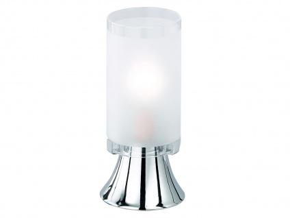 Kleine LED Tischleuchte 1 flammig Metall Chrom Glaslampenschirm, Höhe 16cm