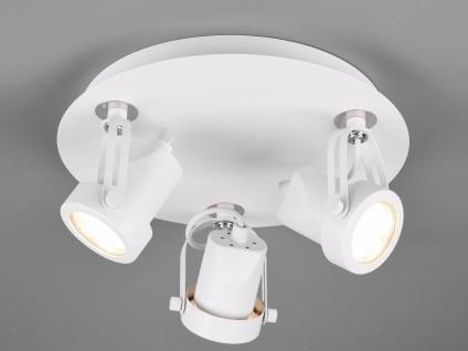 RETRO Deckenstrahler 3-flammig rund Weiß Beleuchtung Flur, Diele und Treppenhaus