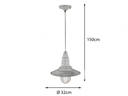 LED Hängelampe grau antik Lampenschirm Glas 32cm, Retro Pendelleuchte Vintage - Vorschau 3