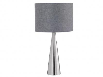 Trio Tischleuchte COSINUS Lampenschirm Textil grau Ø30cm, Hockerlampe Wohnzimmer