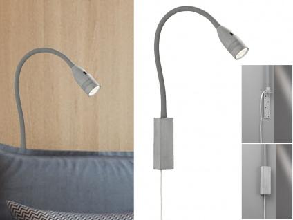 LED Leselampe grau dimmbar - Bett Lampe Leuchte fürs Kopfteil Couch Wandmontage