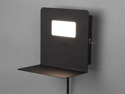 LED Wandleuchte Schwarz USB Anschluss & Ablage Nachttisch Wandlampen fürs Bett - Vorschau 3